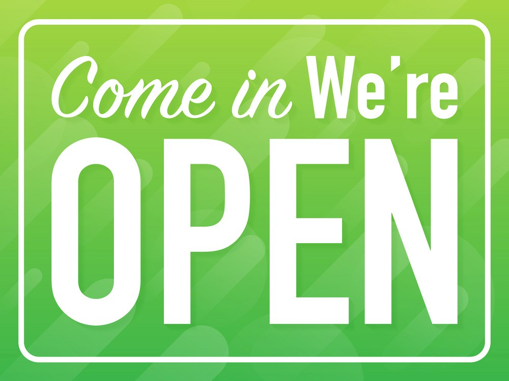 Come in we are open hanging sign on white background. Sign for door. Vector illustration.